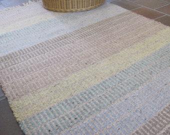 Rustic Wool Rug, Seaside Coastal Beach House Decor, Country Cabin Cottage Chic Farmhouse Home Decor Woven Rug, Postitive Energy Zen Yoga Mat