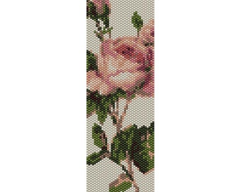 Vintage Rose 4 Peyote Bead Pattern, Bracelet Cuff, Bookmark, Seed Beading Pattern Miyuki Delica Size 11 Beads - PDF Instant Download