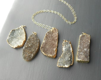 Long Gold Druzy Necklace, Gold Filled with Large Druzy Pendant