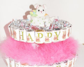 Easter Candy Cake, Candy Cakes, Easter party favor, Easter center piece, candy bar wrappers, party decor, Spring candy cake