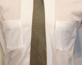 Vintage MENS 40s-50s brown & silver diagonal striped rockabilly or swing tie
