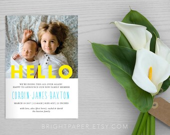 Baby Birth Announcement Baby Announcement Boy Girl Announcement Newborn Announcement Keepsake Digital Printable BB008