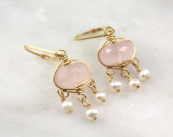 Rose Quartz and Pearl Gold Chandelier Earrings