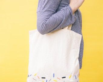 Embroidered tote bag | Sprinkles design