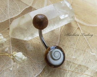 Shiva Eye Shell Belly Bar, Tamarind Wood and Shiva Shell Belly Bar, Naval Bar, Shiva Eye Shell Belly Ring, Tribal Belly Bar