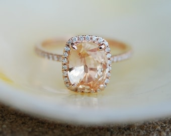 Apricot Peach Champagne Sapphire Ring 14k Rose Gold Diamond Engagement Ring 2.2ct Cushion sapphire ring by Eidelprecious