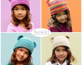CROCHET PATTERN - Boutique Bear Beanie - colorful crochet bear hat pattern crochet hat pattern (Infant - Adult sizes) - Instant PDF Download