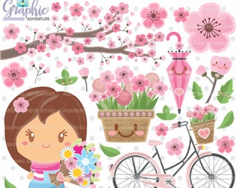 Spring Clipart, Spring Graphics, COMMERCIAL USE, Kawaii Clipart, Planner Accessories, Spring Party, Flower Clipart, Flower Graphics