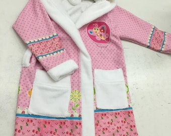 Children's Personalisable Bathrobes set with bag  1-6 yrs- Pink ,White
