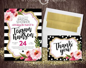 Black Stripe Gold Glitter Floral Kate Bridal Shower Invite and Thank You Card  --  Personalized Digital Printable File