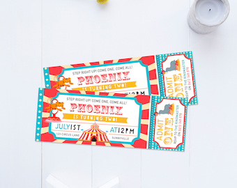 Circus Invitation, DIGITAL DOWNLOAD, Printable Admission Ticket Style Carnival Invite, First 1st 2nd 3rd 4th Boy's Birthday Circus Party