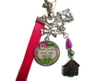 """Bag charm, door keys/home / """"for the coolest of the Atsems"""" / year end gift/birthday/party/thanks/holiday / Christmas"""