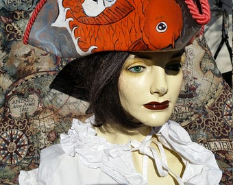 Hand tooled and dyed Koi fish pirate hat