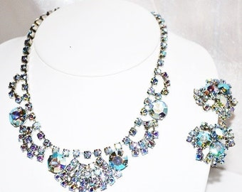 Vintage Blue Aurora Borealis Rhinestone Necklace Earrings Set