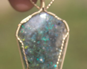 Louisiana Opal Wrapped in 14 kt Gold Filled Wire
