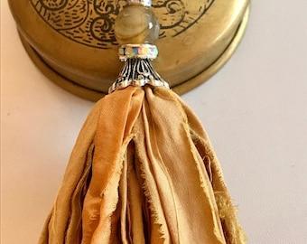 Silk Sari Tassel Necklace-Recycled Gold Tassel-Boho Necklace