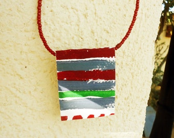 SALE, Reversible Paper Necklace #2