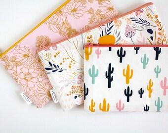 Cactus Zipper Pouch, Cactus Pencil Pouch, Pencil Case, Desert, Floral, Back To School,  School Make Up Bag, Women, Pencil Bag, Cosmetics Bag