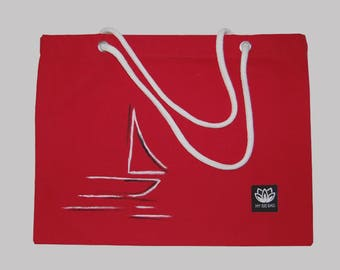 Hand painted large red bag