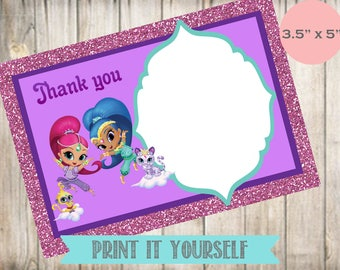 Shimmer and Shine Blank Thank You Notes- Blank Cards- Blank Notes- Shimmer and Shine Birthday Party- Digital- Instant Download