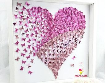 paper butterfly , 3d butterfly wall art, butterfly heart, butterfly canvas, paper butterfly art, girl room wall decor