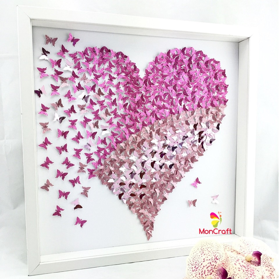 Butterfly Wall Decor Paper Butterfly 3D Butterfly Wall Art Butterfly Heart