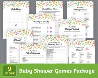 Fun Baby Shower Games Package, Printable Party Games Bundle, Baby Shower Games Set, Rainbow Dots Confetti, Unique Games Pack, SPKG, B010