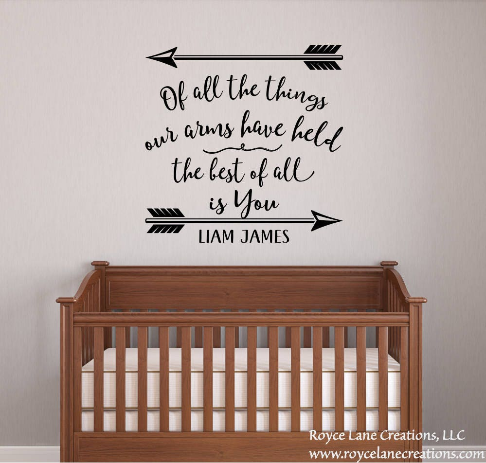 Baby Boy Nursery Decal - Baby Boy Quotes - Nursery Name Decals Boy - Of All the Things Nursery Quotes Boys - Boys Nursery Wall Decal & Baby Boy Nursery Decal - Baby Boy Quotes - Nursery Name Decals Boy ...