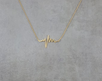 Sound Beat [GOLD] 18K Necklace in Gift Box Heartbeat Wavelength Sound Wave Pulse Trendy Love Strength Gold Plated