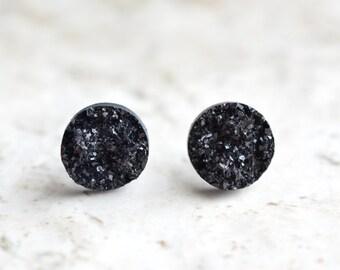 Starlight - Black Druzy Lucite Bridesmaid Stud Earrings