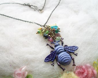 Bee Necklace Bee Jewelry Hand Painted Purple Bronze Bee Charm Steampunk Boho Honey Bee Necklace Colorful Flower Glass Beads