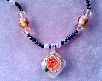 Necklace Lucite Flower Necklace Glitter Reverse Carved Beaded Vintage