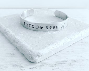Follow your arrow, graduation gift, motivational gift, stamped bracelet, stamped jewelry, stamped words, bracelet, cuff bracelet, stamped