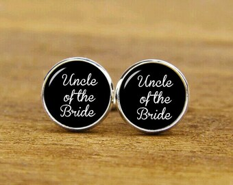 Uncle of the bride cufflinks, personalized wedding cuff links, custom round or square cufflinks, tie clips, groom cufflinks, groomsman gifts