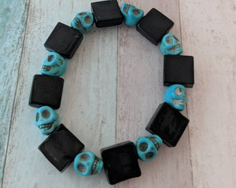 Skull bracelet, skull jewelry, punk jewelry, punk bracelet, halloween jewelry, emo jewelry, emo bracelet, gothic jewelry, gifts for her,