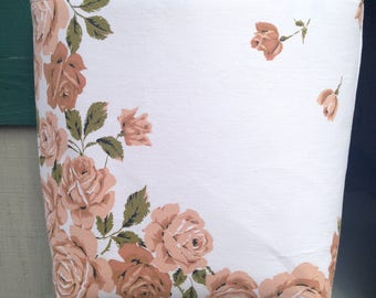 Brown Roses Tote/Purse made from Vintage Tablecloth