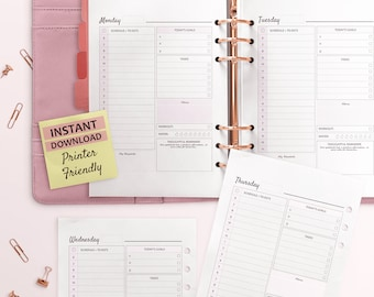 Daily Planner, Daily Planner 2018, Printable Planner, To Do List, A5 Planner Inserts, Habit Tracker, Filofax A5, Happy Planner, Goal Planner