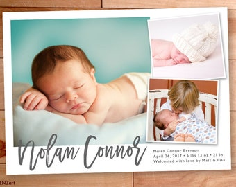 Baby Boy Announcement, Birth Announcement, Collage, Multiple Photo, Modern Type, Script, Custom Baby Announcement, Typography, Photo Card