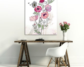 Fuschia Flower, Fine Art Print, Large Wall Art, Watercolor Painting, Pink and Green, Gift for her
