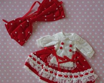 Red Lolita Polka Dot Dress & Bow Set * Blythe * Pullip *