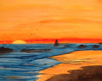 Sunset on the Shore - Watercolor Painting - Seascape - Ocean - Beach - Sailing - Original Art