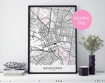 Melbourne City Map Print Wall Art | Print At Home | Digital Download File