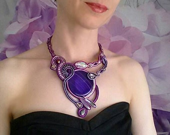 Purple Soutache statement necklace with natural gemstone agate