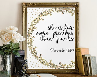 Bible verse, Proverbs 31:10, nursery wall art, She is more precious than jewels, bible verse print, scripture art, home decor, bible BD-527