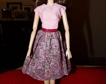 Modest dress with light pink top & pink floral skirt for Fashion Dolls - ed1064