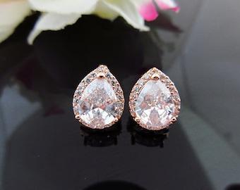 Bridal Rose Gold Crystal Earrings Cubic Zirconia Teardrop Stud Earrings Wedding Jewelry Bridesmaid Gift Sparky Earrings Gold Earrings (E010)