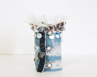 upcycled fashion, ethical fashion, wearable art cuff . angel blue