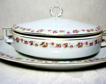 Vintage Porcelain 3 piece serving set, Bavaria, Germany, Porcelain serving set, tureen, china, Xmas gift, China 3 piece, home decor, kitchen