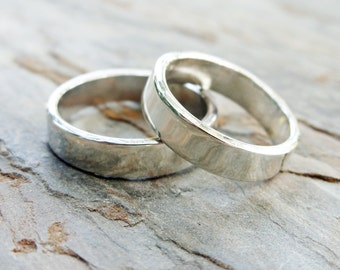 Matching Sterling Silver Wedding Band Set, Hammered, Satin, Polished, or Antique Finish - Two Commitment Rings with Personalized Inscription