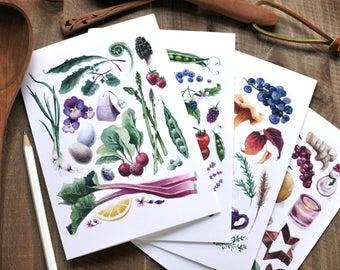 Set of 4 Cards - Seasonal Kitchen Series